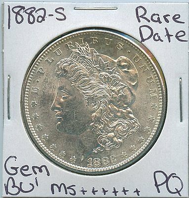1882-S Morgan Dollar Rare Date US Mint Gem PQ Silver Coin BU Unc MS++++++