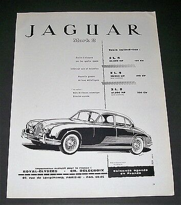 1961 French Magazine Print Ad Mark 2 Jaguar Trois Cylindrees 2L 3L Art Drawing