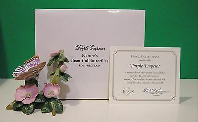 LENOX PURPLE EMPEROR BUTTERFLY Flower sculpture NEW in BOX with COA 1991