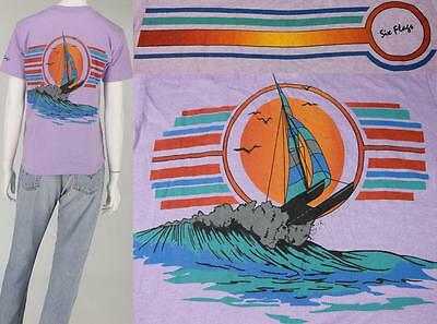 Vintage Six Flags Striped Sailing Surfing Beach Surf 50/50 Purple Tee T Shirt