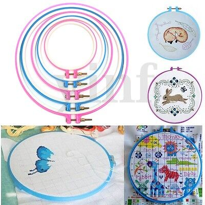 "5Pcs Plastic Embroidery Cross Stitch Machine Hoop Ring Craft Set 4.9"" to 10.6"""