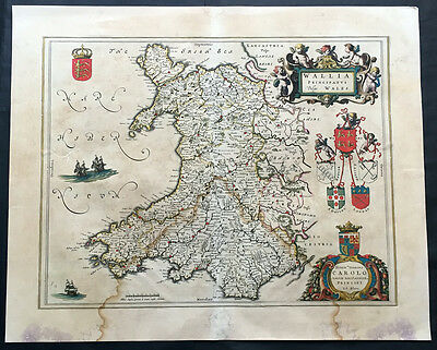 1647 Joan Blaeu Large Antique Map of Wales, Great Britain - Wallia
