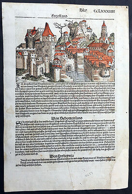1493 Hartmann Schedel Antique Incunable Folio Leaf of Views of England & Spain