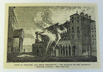 1883 magazine engraving~ HER MAJESTY'S THEATRE FIRE, London, Firefighters