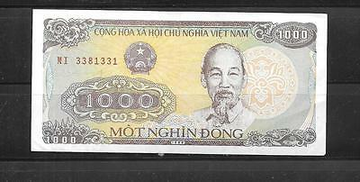 Vietnam #106A 1988 Vf Circ Old 1000 Dong Banknote Note Paper Money Curreney