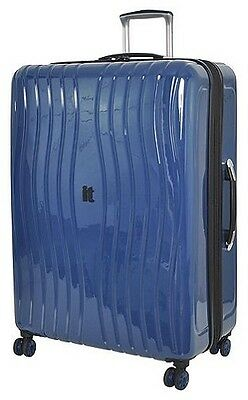 NEW IT Luggage Gloss 8 Wheel Large Hard Shell Suitcase - Poseidon Blue