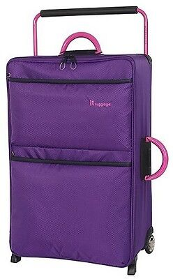 NEW IT Luggage World's Lightest 2 Wheel Large Soft Shell Suitcase - Purple