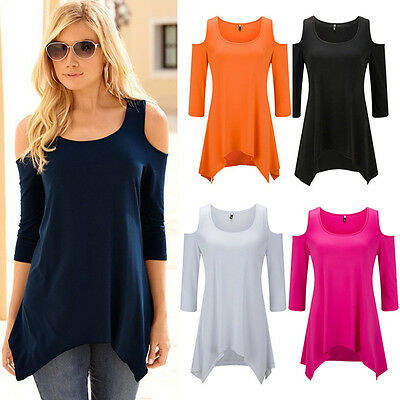 Fashion Women Summer Short Sleeve Tops Cold Shoulder Top Casual T-Shirt Blouse
