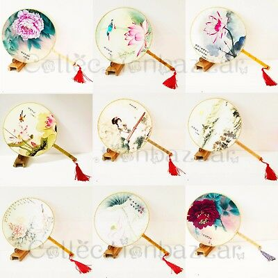 9pcs Exquisite Oriental Chinese Cloth Floral Paddle Dancing / Show Hand Fans