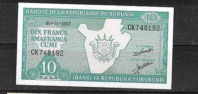 BURUNDI #33e 2007 UNC MINT 10 FRANC CURRENCY BANKNOTE BILL NOTE PAPER MONEY