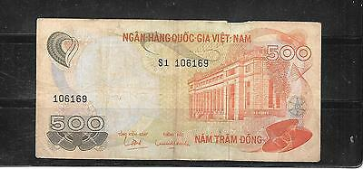 SOUTH VIETNAM #28a 1970 VG CIRC OLD 500 DONG BANKNOTE PAPER MONEY BILL NOTE