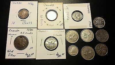 Mixed Lot Of 12 Canada Coins..5 Cent , 10 Cent And 25 Cents