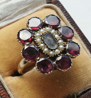 Georgian 9ct Gold Flat Cut Garnet & Hairwork Pearl Ring.