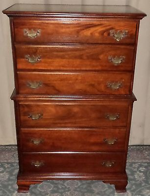 HUNGERFORD MAHOGANY TALL DRESSER 6 Drawer Chest on Chest VINTAGE