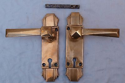 2 RECLAIMED STUNNING ART DECO BRONZE or BRASS PULL LEVER HANDLES KNOBS - 1of10