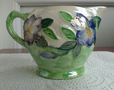 Nice Maling Green Lustre Small Jug With Flowers