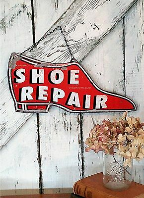 Shoe Repair Red Shabby Industrial Cottage  Rustic Country Chic Wall Sign Metal
