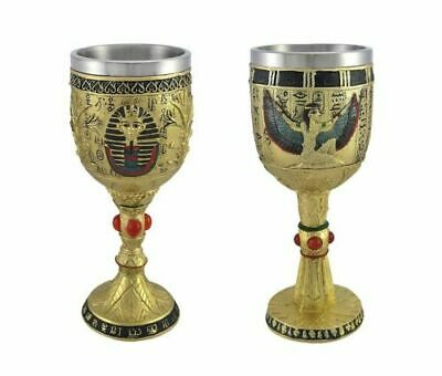 Winged Isis & Pharaoh King Tut Wine Goblets 6 oz. Beverage Chalice Cup Set of 2
