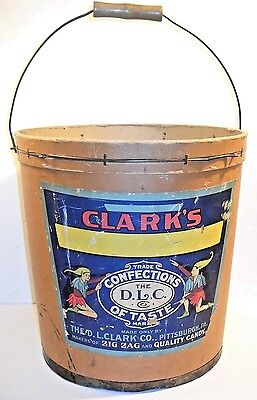 Vintage D.l.clark Co. Large Cardboard Candy Bucket With Handle