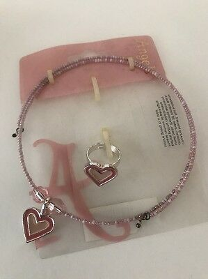 Kids Choker.heart. Adjustable Necklace & Ring Jewellery Set Party.pink.New