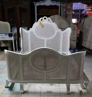 Louis 5' King Size French Style Mahogany Rattan Bed Ant White Rococo Brand New