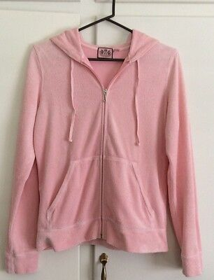 Juicy Couture Pink  large L Hoodie Terry Cloth Track Jacket Women's