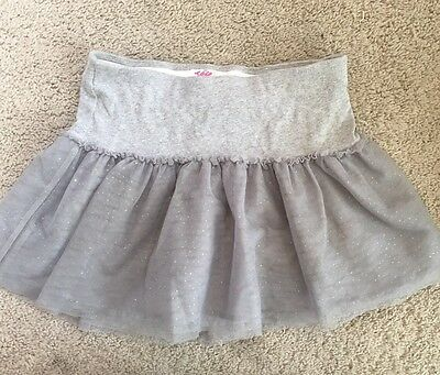 Girls Size 12 Justice Skirt. Gray. Attached Shorts. Tulle
