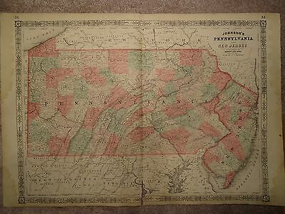 Vintage 1864 Pennsylvania Map Old Antique Original Atlas Map   1864/060915