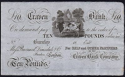 1800's CRAVEN BANK £10 BANKNOTE * UNISSUED REMAINDER * gEF * Ref 4 * Outing 366a