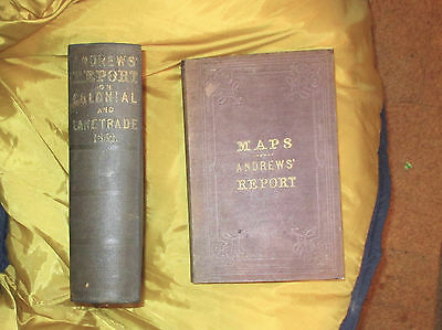 1853 ANDREWS TRADE GT LAKES COLONIES RARE 2 VOL W/4 HUGE MAPS US RAILRDS GPO 1st