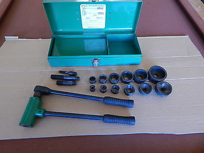 """GREENLEE 1804 RATCHET KNOCKOUT PUNCH DRIVER SET W/ ALL 6 DIES 1/2"""" to 2"""""""