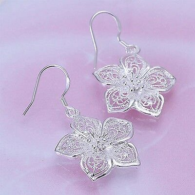 Party Vintage Style Earrings Silver Plated Ear Studs Hollow Flower