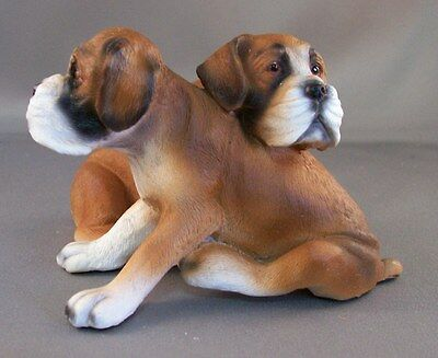 "Collectible Resin 2 BOXER PUPPIES DOG Figurine 2 1/2"" tall Brown / White NEW"