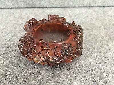 Antique Chinese  Pressed Amber Carved Scholar Brush Washer Bowl 129g
