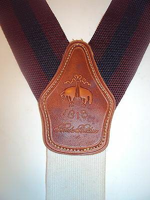 Brooks Brothers Mens Navy BLUE BURGANDY STRIPED Suspenders Braces leather trim