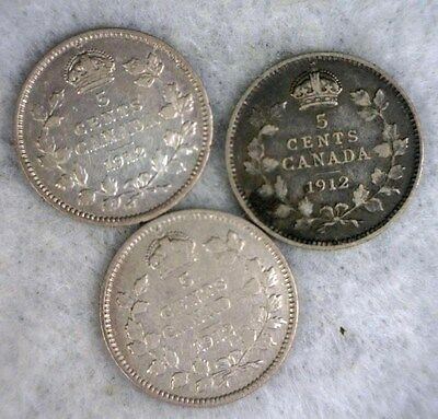 CANADA 5 CENTS 1912 SILVER - 3 COINS IN VF  (stock# 0647)