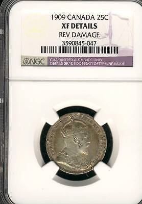 CANADA 25 CENTS 1909 NGC CERTIFIED XF DETAILS SILVER COIN (Stock# 0285)