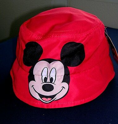 """""""mickey Mouse""""  Size Toddler 2T/ 5T  Girls/boys Colorful Red Bucket Hat  Nwt #e"""