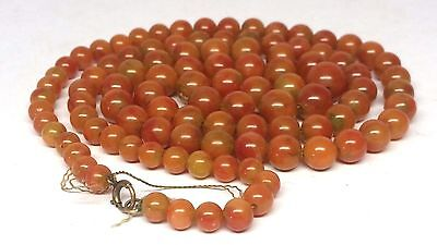 Antique Chinese 10k Gold Red Russet Jade or Carnelian Agate? Bead Necklace