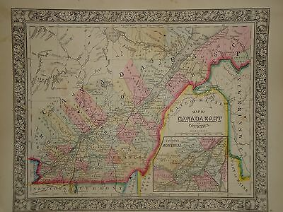 Vintage 1860 Canada  East Map Old Antique Original Atlas Map *free S&h*63/080416