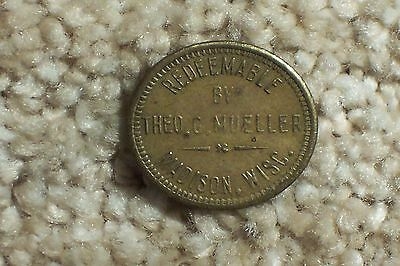Theo G. Mueller Madison Wisconsin Trade Token GF 2 1/2c