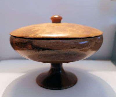 Lidded Wood Compote MYRTLEWOOD Composition From OREGON Nice Graining 1960s