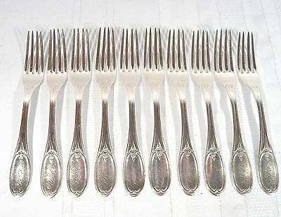 RARE 11 Antique 1875 Wood & Hughes American Sterling Silver Forks circa 643 gr.