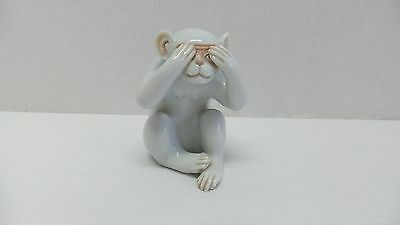 Vintage Chinese White Porcelain See No Evil/Hiding Monkey Figurine Marked