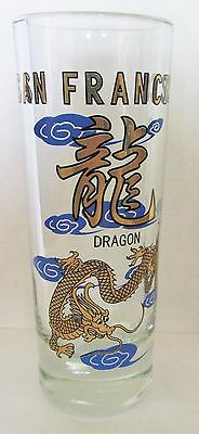 "San Francisco  Colorful Gold & Blue Toned Dragon     4"" Shot Glass"