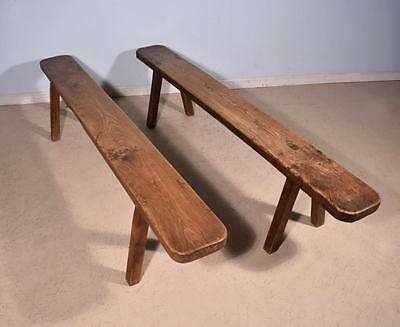 *Pair of Long Antique French Solid Chestnut Rustic Country Benches