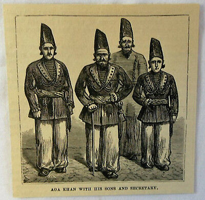 small 1878 magazine engraving ~ AGA KHAN with his sons and secretary