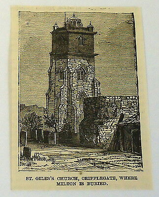 small 1883 magazine engraving ~ ST. GILES CHURCH WHERE MILTON IS BURIED