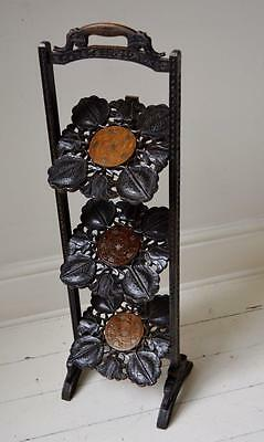 STUNNING ANTIQUE ANGLO INDIAN CARVED HARDWOOD & BRASS INLAID CAKE STAND c.1910