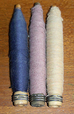 3 Vintage Antique Primitive Wooden Textile Bobbin Spool Spindles with Wool Yarn
